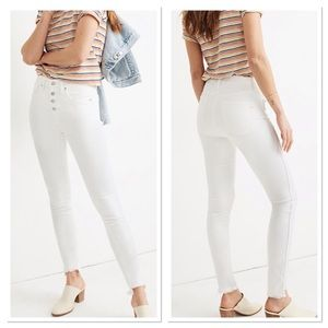 "10"" High-Rise Skinny Jeans in Pure White: Step-Hem"